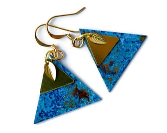 Patina and copper earrings, leaf earrings, geometric earrings, blue patina, rustic earrings