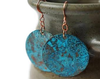 Copper Earrings, Turquoise Statement Earrings, Patina Earrings, Bohemian Earrings