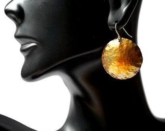 Copper Disc Earrings, Antiqued Copper Earrings, Hammered Copper Earrings, Sterling Copper Earrings, Handforged Earrings