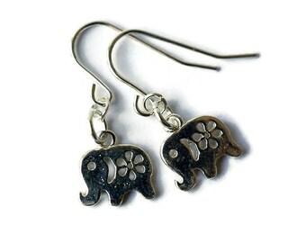 Sterling Silver Lucky Elephant Earrings, Small Elephant Earrings, Baby Elephant Earrings