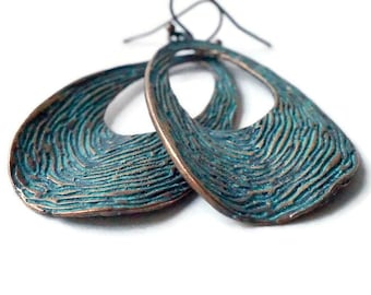 Retro Copper Hoop Earrings, Wavy Hoop Earrings, Blue Patina Earrings