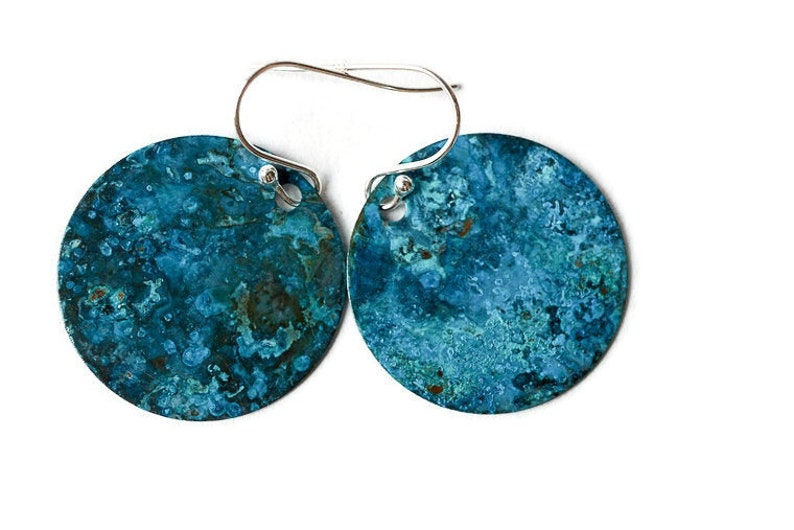 Artisan Handcrafted Blue Copper Earrings with Sterling Silver image 0