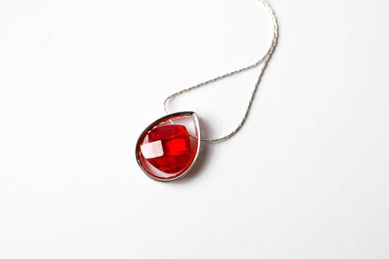 Red Crystal Necklace Sterling Silver Choker Mothers Day image 0