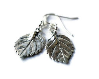 Sterling Silver Leaf Earrings, Dainty Leaf Earrings, Silver Leaf Earrings, Minimalist Jewellery, Nature Jewelry, Gift Nature Lover