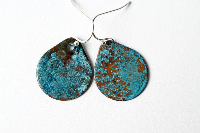 Copper and Patina Tear Drop Earrings Artisan Earrings image 0