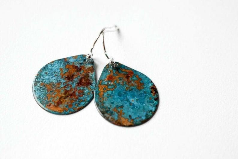 Copper and Patina Tear Drop Earrings Verdigris Earrings image 0