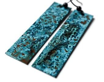Blue Patina Earrings, Antiqued Copper Earrings, Artisan Earrings, Blue Turquoise Earrings, Long Earrings, Verdigris Earrings