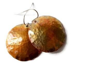 Hammered Copper Earrings, Copper Disc Earrings, Antiqued Copper Earrings, Sterling Copper Earrings, Handforged Earrings