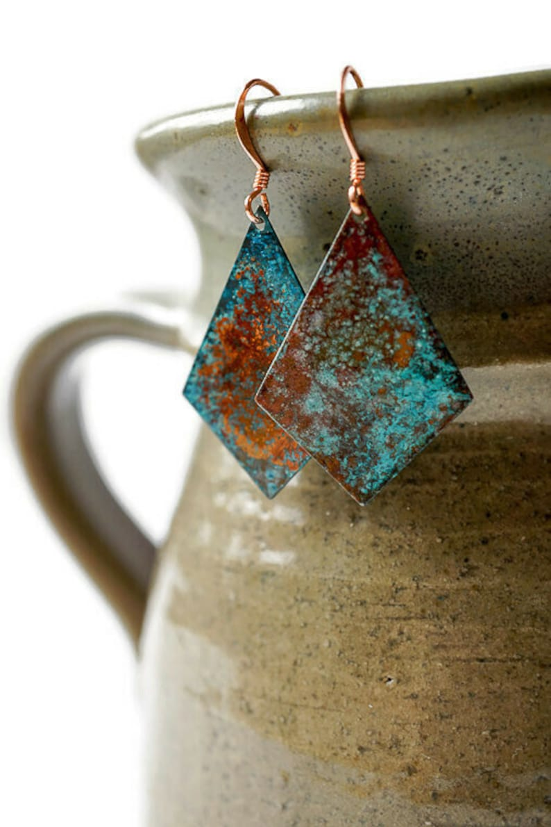Verdigris Patina Earrings Patina Dangle Earrings Antique image 0