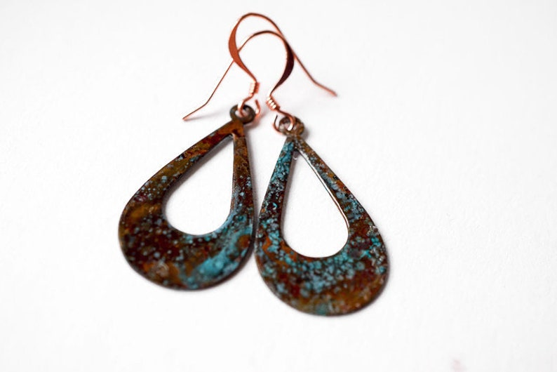 Copper and Patina Tear Drop Earrings image 0