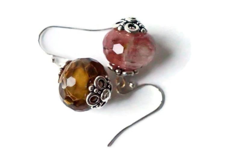 Smoky Quartz Earrings Pink Rose Quartz Earrings with Sterling image 0