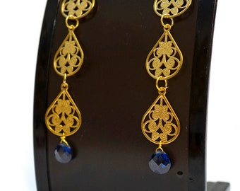 Long Gold and Crystal Sapphire Statement Earrings