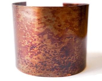 Rustic Copper Cuff Bracelet, Antiqued Copper Bracelet, Wide Copper Cuff Bracelet, Patina Cuff, Statement Copper Cuff