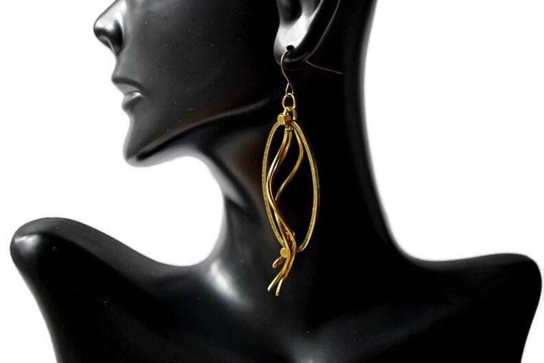 Long Brass Twisted Earrings Hammered metal earrings image 0