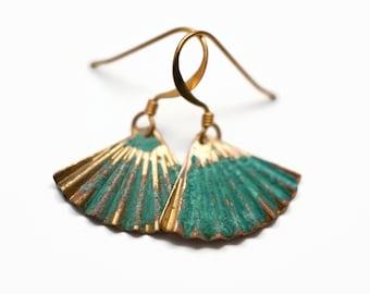 Gold and Patina Petite Fan Earrings