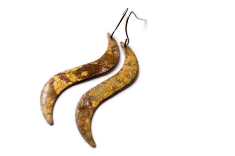 Long Wavy Antiqued Patina Earrings image 0