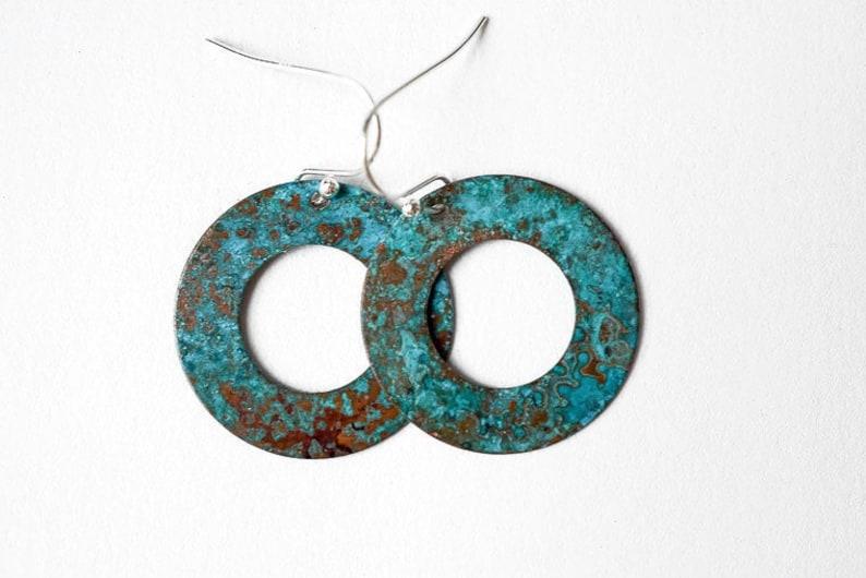 Turquoise Hoop earrings Verdigris Earrings Copper Jewelry image 0