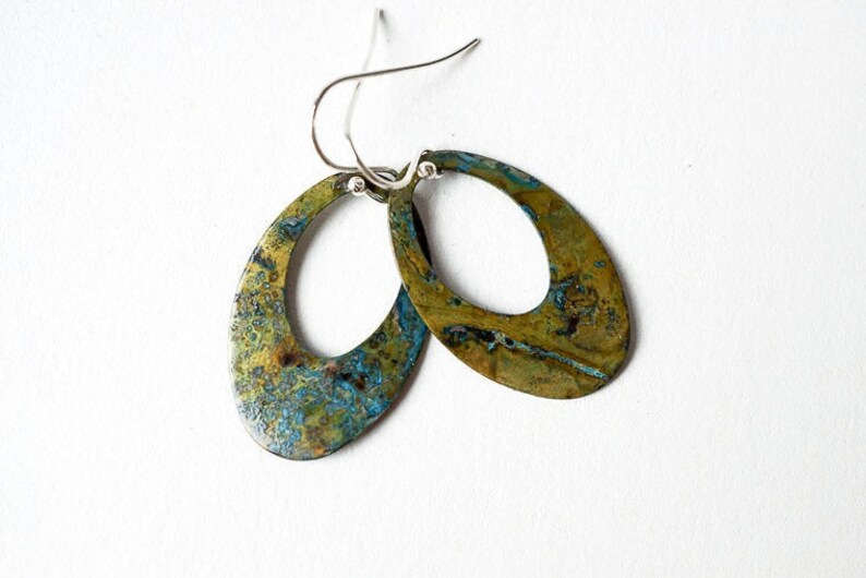 Patina Brass Hoop Earrings image 0
