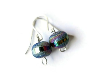 Dainty Rainbow Druzy Earrings, Sterling Silver Druzy Earrings, Druzy Drop Earrings