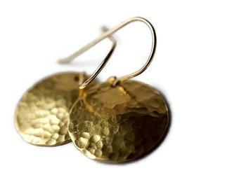 Gold Disc Earrings, Hammered Gold Earrings, Mixed Metal earrings, Hammered Earrings, Shiny Gold Earrings