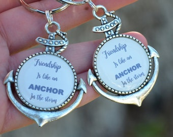 """Anchor Best Friend Keychain SET   """"Friendship is like an anchor in the storm"""""""
