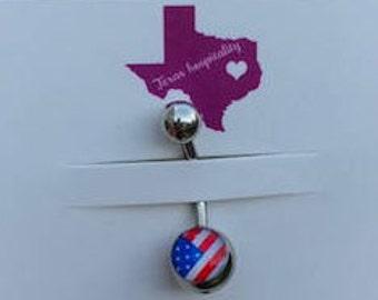 American Flag Belly Ring Bar