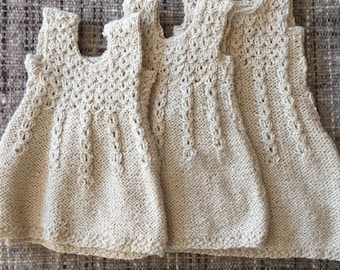 Alpaca dresses for baby girl, Hand knitted dress, baby dress, white dress