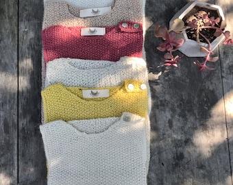 6-9 months Pure baby alpaca Sleeveless sweater, Hand knitted baby alpaca sweater, Baby sweater