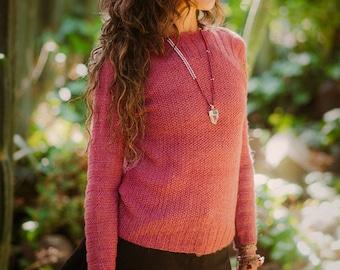 Pure Baby Alpaca sweater, woman sweater, pink sweater, knitted sweater, alpaca sweater