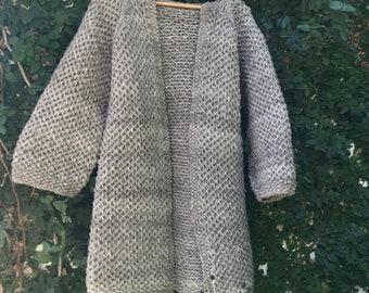 Size S Chunky long Coat, oversized,  Wool Coat