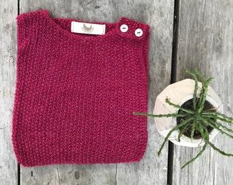 0-3 months Sleeveless sweater, Baby Alpaca Sweater, Hand knitted sweater, Baby sweater