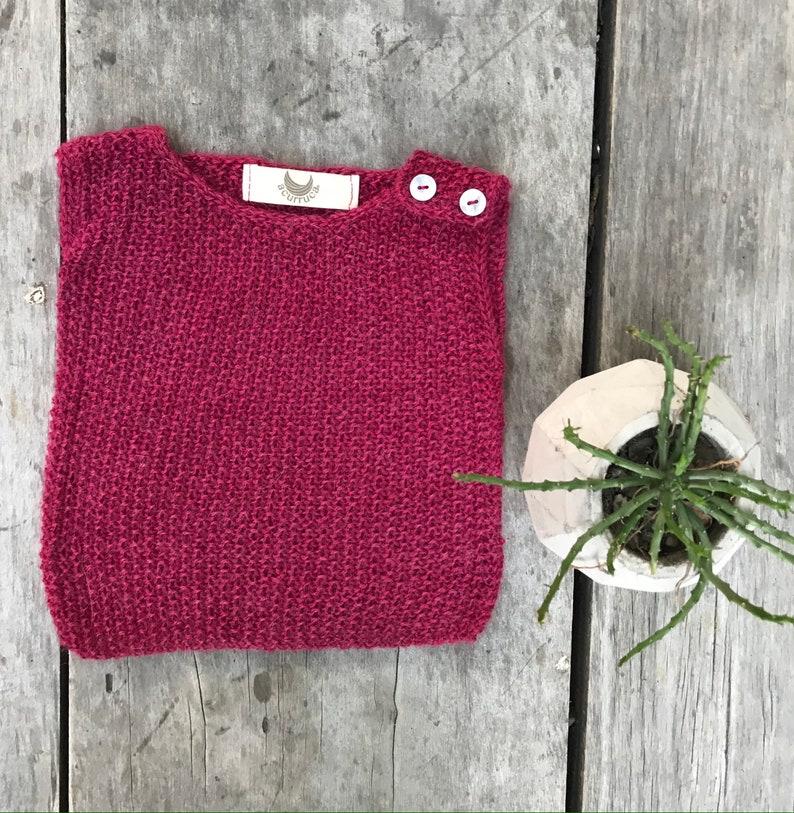 0-3 months Sleeveless sweater Baby Alpaca Sweater Hand baby alpaca/carmine