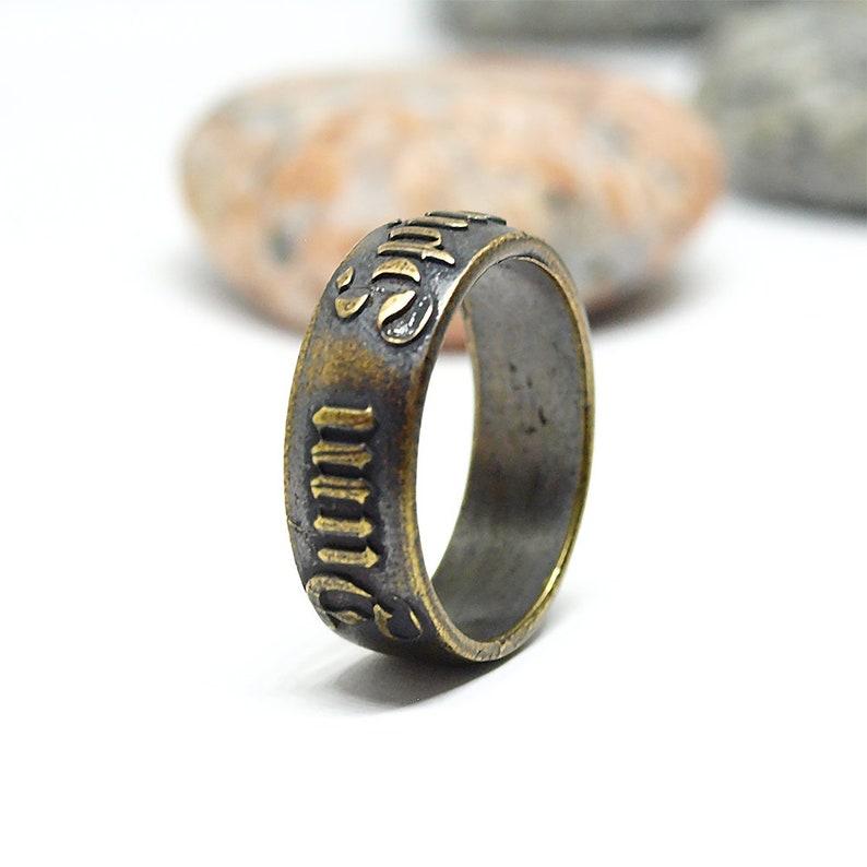 Dum spiro spero, Latin word ring, Statement brass jewelry for men or women