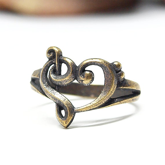 Music heart ring, Size 7 US, Brass jewelry