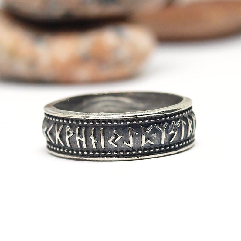 Silver Elder Futhark rune ring Made to Order