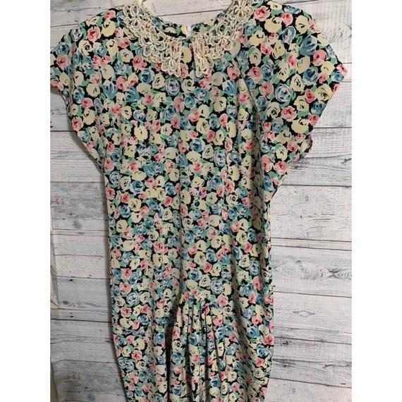 Vintage floral school pleated dress