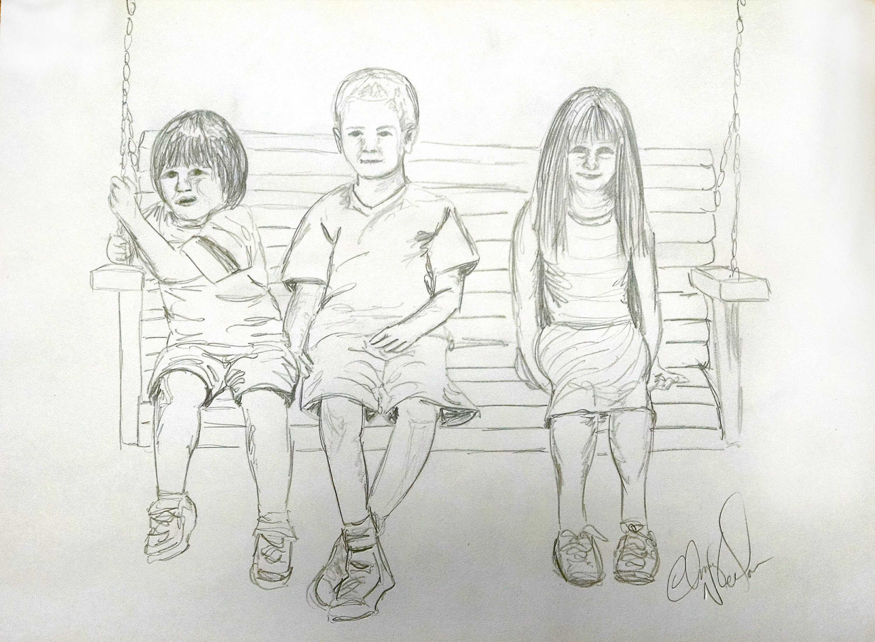 Portrait drawing portrait family drawing pencil drawing family pencil drawing original art gift custom gift family hand drawn