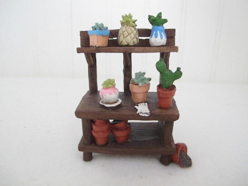 Miniature Dollhouse FAIRY GARDEN ~ Wood Look Resin Bench w Tea Table ~ NEW