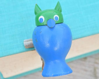 Owl Clip, Green and Blue, Office Clip, Binder Clip, Paper Clip, Wood and Metal, Retro Owl, Owl Decor, Sanke, Big Eyes, Mod, Office Supply