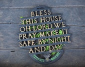 Bless This House, Cast Iron Trivet, Gold Lettering, Vintage Trivet, Wilton Trivet, Green Detail, Make it Safe By Night and Day