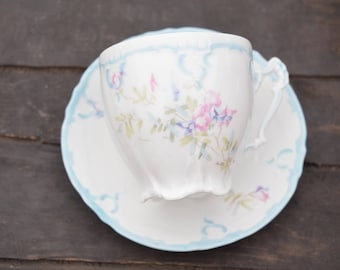 Mustache Teacup, Cup and Saucer, Weimar Germany, Blue and Pink, Floral, Footed Teacup, Light Blue, Intricate Handle, Teacup and Saucer