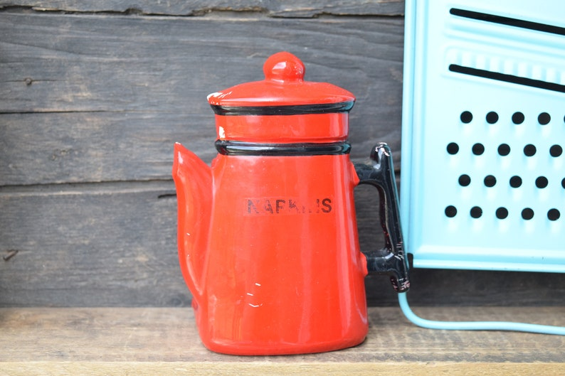 Awe Inspiring Napkin Holder Coffee Pot Red Kitchen Cottage Kitchen Farmhouse Kitchen Retro Kitchen Missing Paint Made In Japan Red Pot Vintage Home Interior And Landscaping Ologienasavecom