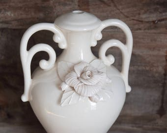 White Floral Lamp, Lamp Base, Shabby Chic Lighting, Cottage Chic, Unique Table Lamp, Handled Urn, Cottage Lamp, White Rose,Elegant,Off White