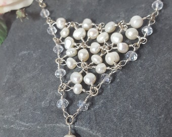 Netted Pearl Drop Necklace. Netted necklace. Pearl necklace. Crystal necklace