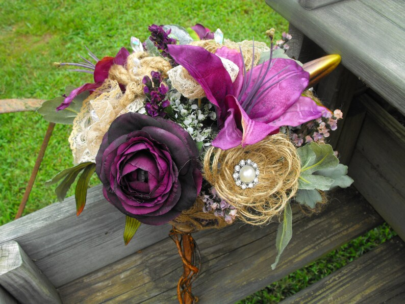 Burlap Wedding bouquet with purple lilly and peony flowers and lots of rhinestone pearl and crystal bling with vine stem-packages available