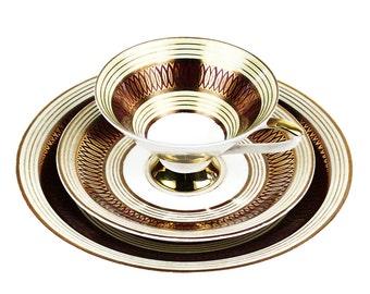 3 Piece Teacup Set, Johann Seltmann Vohenstrauss Bavaria Porcelain