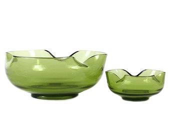 Retro Avocado Green Chip 'n Dip Bowls, Anchor Hocking Accent Modern Collection