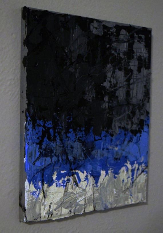 Abstract Painting In Blue Black And White Art On Stretched Canvas With Wood Backing Ready To Hang 8 X 10 Acrylic Painting And Ink