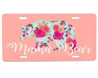 Mama Bear license plate, key chan, car accesories, truck accesories, car tag, front plate, matching key chain, personalized