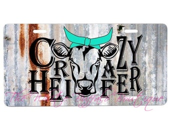 Crazy Heifer license plate, key chan, car accesories, truck accesories, car tag, front plate, matching key chain, personalized, custom